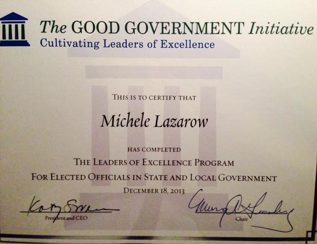 Michele Lazarow Good Government Initiative Certificate